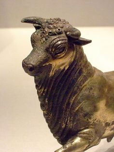Statuette of a Bull Roman from Pompeii 100 BC-79 AD Silver and Gold