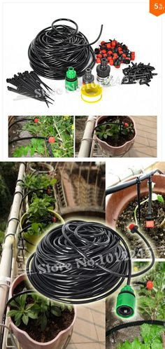 DIY Micro Drip Irrigation System Plant Automatic Self Watering, Garden Hose Kits with Connector.