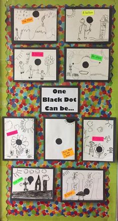 One Black Dot - The Dot by Peter H. Reynolds - creating art with dots - coffee filter art, circle painting, The Day the Crayons Quit and more. https://firstieland.blogspot.com/2017/05/what-can-you-make-with-dot.html #artprojects