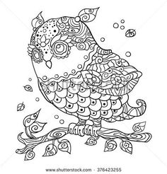 Decorative cartoon owl in zentangle style. Page for adult coloring book.Hand drawn vector illustration isolated on white. Online Coloring Pages, Coloring Books, Zentangle, Owl Pictures, Owl Cartoon, En Stock, Ballet Beautiful, Ballet Dancers, Large Prints