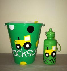 Personalized Sand Bucket/ Water Bottle Set- EllerysDesigns on Etsy!