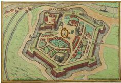 Anonyme, 1580, Originale grande eau-forte coloré de Braun - Hogenberg, Vues de Dunkerque, Gravelines(detail), Bourbourg, Frankrijk (detail)