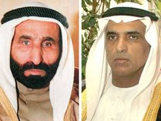 Shaikh Mohammad Bin Rashid performed funeral prayers for Shaikh Saqr - Shaikh Saud bin Saqr Al Qasimi (right).