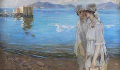 İbrahim Çallı Bostancı Sahilinde gezintiye çıkan kadınlar tablosu