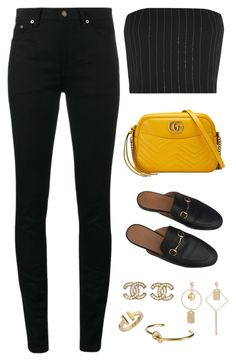 """Untitled #4464"" by magsmccray ❤ liked on Polyvore featuring Yves Saint Laurent, Gucci, Thierry Mugler, Chanel, Tiffany & Co. and CÉLINE"