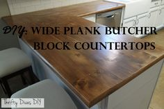 Ditch your old worn out laminate counters, and swap them out for some new DIY wide plank butcher block counters instead.