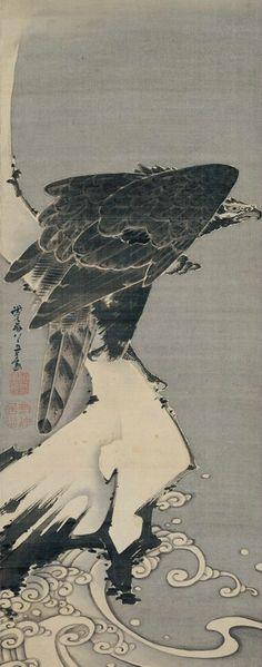 .:. Itō Jakuchū (Japan, 1716–1800), Eagle, 1800, Hanging scroll; ink on silk,- Etsuko and Joe Price Collection.