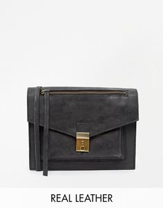 ASOS Leather Vintage Lock Cross Body Bag - Black