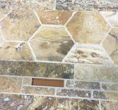 Travertine Tile Portland, Travertine Tile, Travertine Floor Tile, Travertine Tile Backsplash Travertine Tile Backsplash, Travertine Floors, Tiles, Floor Patterns, Tile Patterns, Versailles Pattern, Chair Rail Molding, Bath Fixtures, Quartz Countertops
