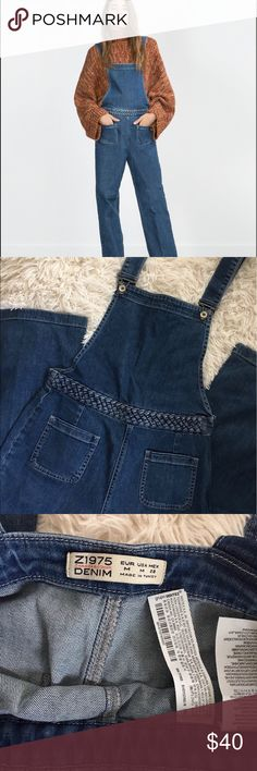 ZARA Chloe Denim Wideleg Dungarees Overalls Sz Medium Zara Chloe Denim Dunagrees/Overalls with braided belt detail and 2 front and 2 back patch pockets. Straps can be straight or criss  crossed (as pictured) depending on preference. Super comfortable & fun piece for summer! Being sold as pictured. Zara Jeans Overalls