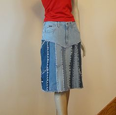 Upcycled Blue Jean Skirt