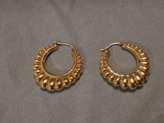 Lovely Large 14k Gold Ribbed Hoop Earrings