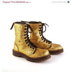 Glitter Doc Martens Boots Vintage 1990 Gold Dr UK Size 3 ($248) ❤ liked on Polyvore
