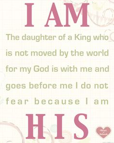 I am a daughter of the King. Free Printable for your children's nursery or toddler's bedroom!