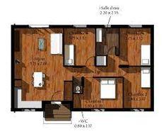 Exemple de maison en bois en kit pas cher - Maison Bois Eco Wooden Terrace, Floor Plans, Kit, Small Modern House Plans, Homes, Floor Plan Drawing, House Floor Plans
