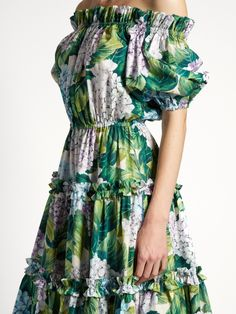 Hortensia-print off-the-shoulder tiered dress | Dolce & Gabbana | MATCHESFASHION.COM
