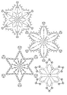 15 crochet snowflakes patterns- free patterns – Turcoaz cu Vanilie - Her Crochet Free Crochet Snowflake Patterns, Crochet Stars, Christmas Crochet Patterns, Holiday Crochet, Crochet Snowflakes, Christmas Snowflakes, Christmas Knitting, Thread Crochet, Crochet Crafts