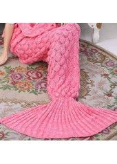 Pink Mermaid Tail Design Knitting Blanket on sale only US$23.49 now, buy cheap Pink Mermaid Tail Design Knitting Blanket at lulugal.com