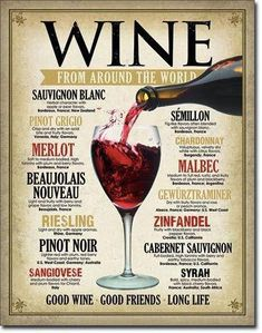 Wine From Around The World Tin Sign Good Wine Friends Good Life Merlot Syrah Guide Vin, Wine Guide, Wine Tasting Party, Wine Parties, Wine Education, Tips & Tricks, Vintage Wine, Vintage Metal, Retro Vintage