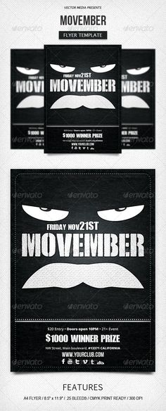 Movember - Flyer #GraphicRiver Movember – Flyer Features: 4 Moustaches included Fully layered PSD Organized and grouped layers for easy editing A4 Format [8.5×11.9 with .25 bleeds] 300 DPI CMYK color Print ready Fonts used: Royal Rumble Open Sans Bebas Neue Readme file Don't forget to rate this item, it helps a lot. Thanks Enjoy, and happy design! Created: 2November13 GraphicsFilesIncluded: PhotoshopPSD Layered: Yes MinimumAdobeCSVersion: CS PrintDimensions: 8.5x11.9 Tags: Advertisingflyer…
