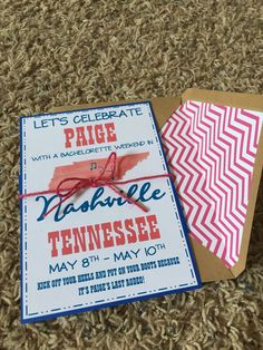 Nashville bachelorette invites DIY! Bachelorette Invitations, Diy Invitations, Invites, Lets Celebrate, Nashville, Bridesmaid, Wedding Ideas, Party, Maid Of Honour