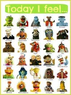 If I were asked to point out how I feel today, I couldn't help but smile! Thanks Muppets! Bit Nerds shares the best funny pics. Feelings Chart, Feelings And Emotions, Jim Henson, Les Muppets, Fraggle Rock, Movies And Series, The Muppet Show, Social Emotional Learning, Boy Scouting