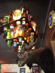 Beer Bottle Chandelier for the Man Cave - need this, but with Bud Platinum blue bottles.