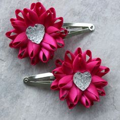 Hot Pink Hair Flowers Hair Flower Clips Hair by PetalPerceptions