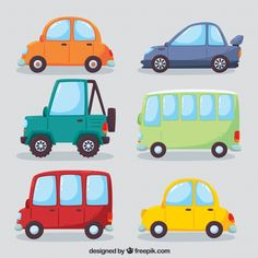Colorful variety of modern cars Free Vector Transportation Theme, Car Vector, Car Themes, Cars Birthday Parties, Free Cartoons, Monster Trucks, Car Posters, Cute Kids, Illustration