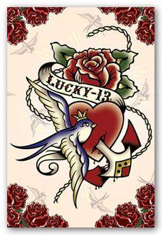 "Lucky 13 Sparrow 24""x36"" Art Print Poster"