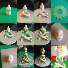 a kingdom, where adorable cake topper tutorials and decorations could be implement with polymer clay, fondant, gum paste, modeling c… Fondant Toppers, Fondant Figures Tutorial, Cake Topper Tutorial, Fondant Cakes, Fondant Bow, Fondant People Tutorial, Cupcake Cakes, Bolo Tinker Bell, Decors Pate A Sucre