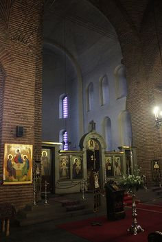 "Photos from inside the church of ""Sveta Sofia"" (God's Wisdom) in Sofia, Bulgaria. Basilica of Hagia Sophia, Sofia Sacred Architecture, Church Architecture, Church Icon, Sofia Bulgaria, Mountain Village, Orthodox Christianity, Brick Building, Gladiators, Orthodox Icons"