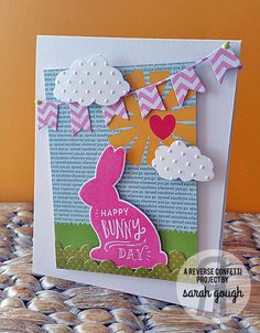A sun-sky-grass Quick Card Panel sets the scene for this handmade Easter card.  Bright colors and sentiments from More than Jelly Beans help this card stand out.  Love the pink and white chevron banner.