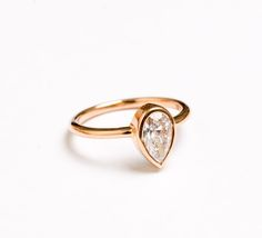 Pear Cut Diamond and Rose Gold Ring