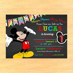 mickey mouse 1st birthday invites
