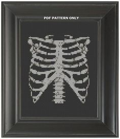 Pattern Funny Cross Stitch Rib Cage Humorous by CrassCross on Etsy, $5.00