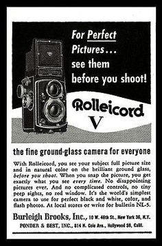 Rolleicord Vintage Camera AD 1955 Fine Ground Glass Photography Advertising