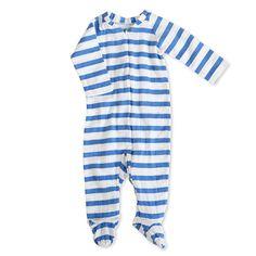 aden + anais Ultramarine Blazer Stripe Long Sleeve Zipper Footie