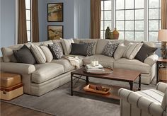 Cindy Crawford Home Lincoln Square Gray 4 Pc Sectional Living Room