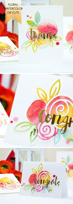 Watercolor first, die cut later! Create fun watercolor die cuts for your next cardmaking project. Details & video here: http://www.yanasmakula.com/?p=52108