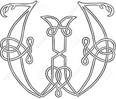 A Celtic Knot-work Capital Letter W Stylized Outline