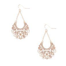 Rose Gold Filigree Drop Earrings