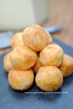 Bolitas de Patatas rellenas con Queso sin lactosa y sin gluten, están hechas a partir de un puré de patatas y huevos. También las puedes rellenar con pollo.