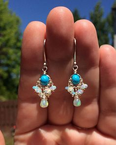 Hey, I found this really awesome Etsy listing at https://www.etsy.com/listing/533011860/turquoise-opal-earrings-petite-fiery