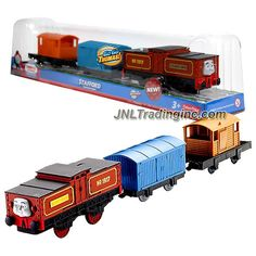 """Fisher Price Year 2012 Thomas and Friends DVD Series """"Go Go Thomas!"""" Trackmaster Motorized Railway Battery Powered Tank Engine 3 Pack Train Set : Battery-Electric Shunting Engine STAFFORD (Y2001) with Blue Van and Orange Brake-Van"""