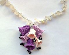 Lavender Pink Crochet 3 D Bellflowers Oya Necklace Natural Stones Beaded Jewelry, Beadwork, Crochet ReddApple