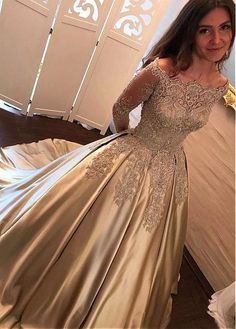 Wonderful Satin Off-the-shoulder Neckline Ball Gown Evening Dress With Beaded Lace Appliques - Adasbridal.com
