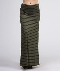 Take a look at this Olive & Black Stripe Maxi Skirt by BOLD & BEAUTIFUL on #zulily today!