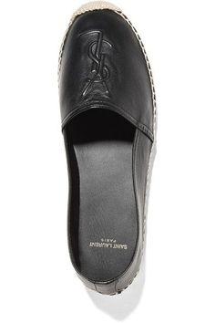 Saint Laurent - Embossed Leather Espadrilles - Black - IT37