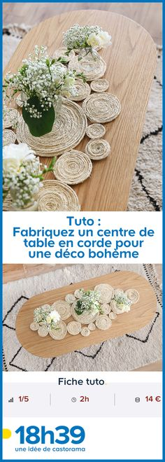Tuto: Make a rope centerpiece for a bohemian decor – Deco # rnrnSource by Kids Table Wedding, Wedding With Kids, Diy Wedding, Rock Crafts, Diy And Crafts, How To Make Rope, Creation Deco, Kid Table, Moroccan Decor